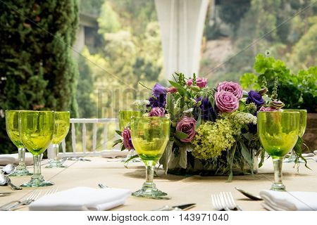 Formal Table Setting For A Wedding With Flowers