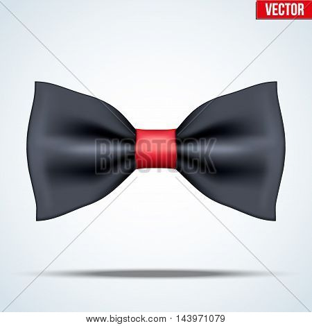 Realistic silk black and red bow tie. Luxury accessories. Fashion and trendy symbol. Editable Vector illustration Isolated on background.