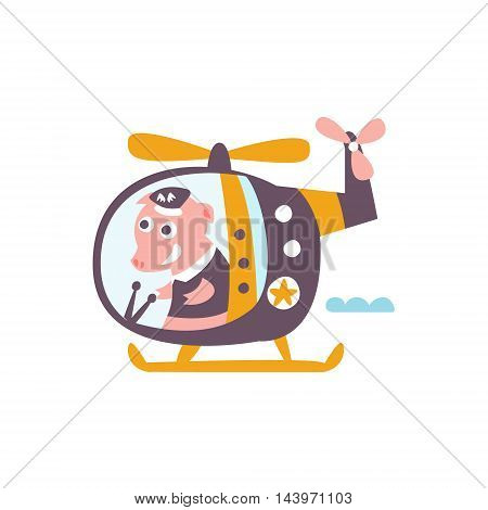 Pig Driving A Helicopter Stylized Fantastic Illustration Childish Simplified Funny Flat Drawing On White Background