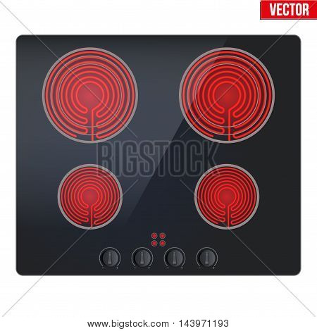 Surface of black electric hob with enabled burners. Top view of electric stove. Domestic equipment. Editable Vector illustration Isolated on white background.