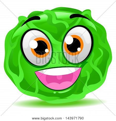 Vector Illustration of Cute Cartoon Cabbage Mascot