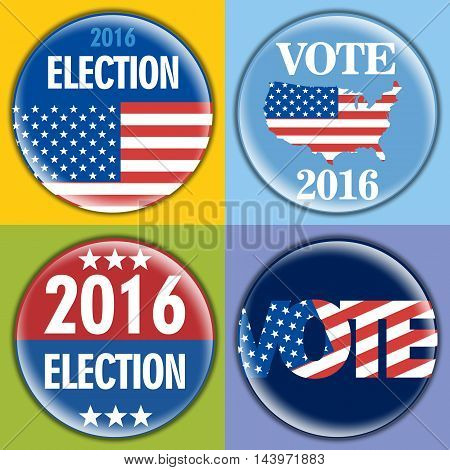Election 2016 badge set with unites states of america flag. Digital vector image