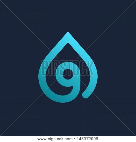Letter G Number 9 Water Drop Logo Icon Design Template Elements