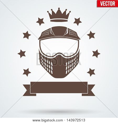 Paintball sports Signs and Label with mask and crown. Emblem of tournament or club. Editable Vector illustration Isolated on background.