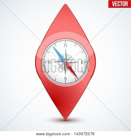 Pointer target for maps. With compass on display. For web or applications.