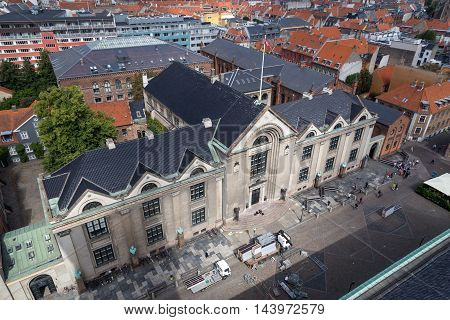 Copenhagen, Denmark - August 15, 2016: Aerial view of the main building of the University of Copenhagen
