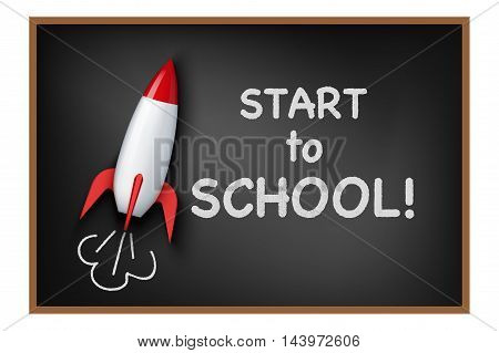 Concept of start to school background. Rocket and blackboard.