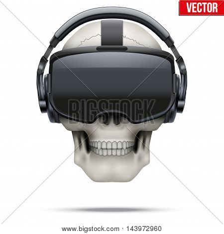 Original stereoscopic 3d vr headset and human skull. Front view. Vector illustration Isolated on white background.