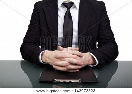 businessman sitting on the table for a job interview