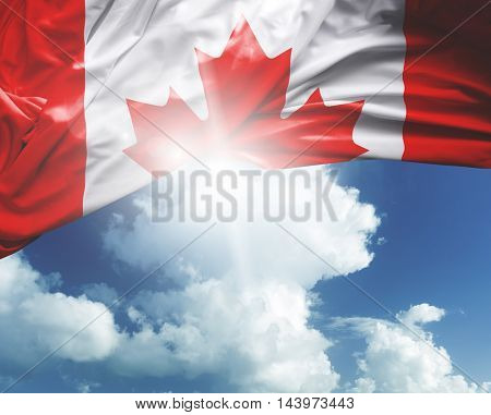 Canada flag on a beautiful day