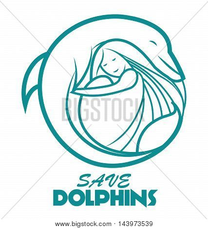 Vector logo, label dolphin with girl. Dolphin illustration. Save dolphins. Dolphin EPS10. Dolphin JPEG. Dolphin Icon