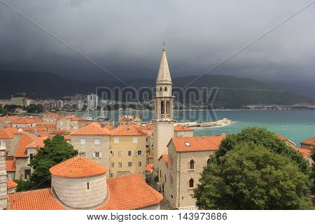 View from the сentral part of Budva old town during a summer thunderstorm