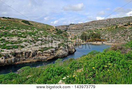 Mgarr ix-xini, a beautiful bay on the coast of  Gozo, Malta.