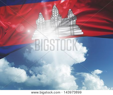 Cambodia flag on a beautiful day