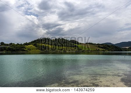 blue green water lake landscape cloudy sky