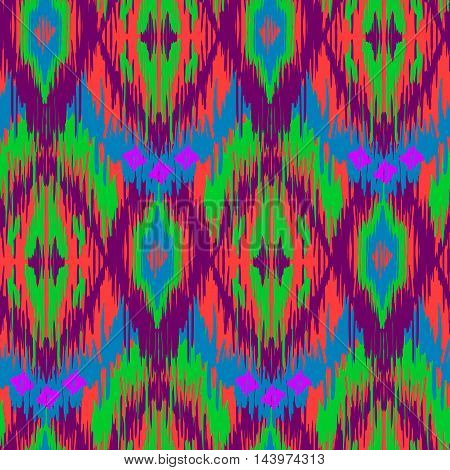 Ethnic folk seamless pattern Ikat Ogee consisting of green blue red and purple colors