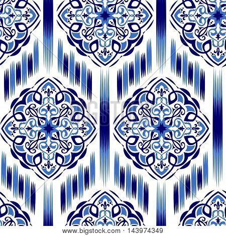 seamless pattern Tribal Art Ikat Ogee in traditional classic blue colors