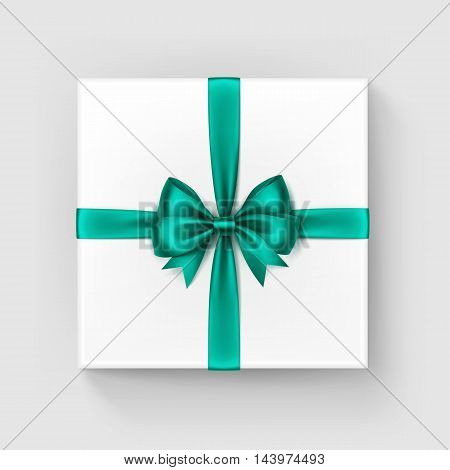 Vector White Square Gift Box with Shiny Bright Green Emerald Satin Bow and Ribbon Top View Close up Isolated on White Background