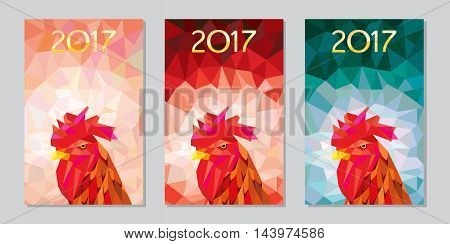 Oriental symbol of calendar year. Red rooster.