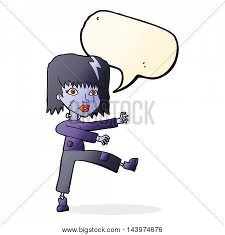 cartoon undead girl with speech bubble