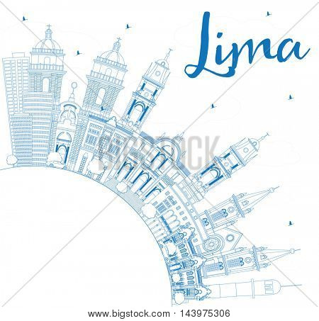 Outline Lima Skyline with Blue Buildings and Copy Space. Vector Illustration. Business Travel and Tourism Concept with Lima City.