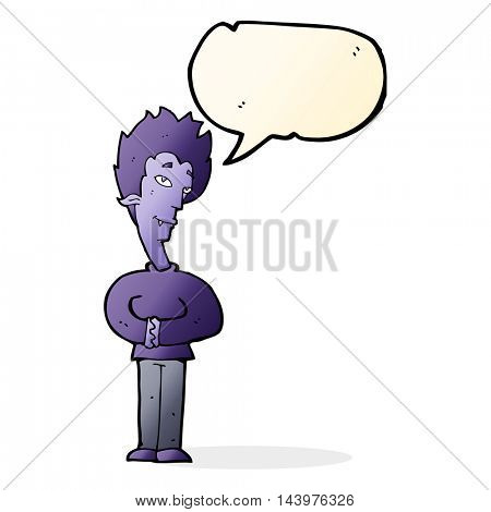 cartoon vampire with speech bubble