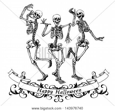 Happy halloween dancing skeletons isolated vector illustration contour graphics for posters and banners