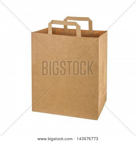 Recycled paper shopping bag on white background