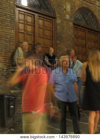 Group Of Senior Friends In Siena