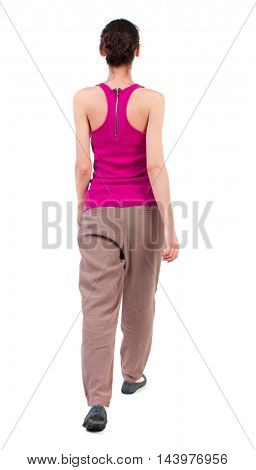 back view of walking  curly woman.  backside view of person.  Rear view people collection. Isolated over white background. dark girl slowly moving forward.