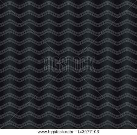 Geometric illusion wave seamless pattern. Bright grey and dark grey colors. Seamless texture vector illustration.