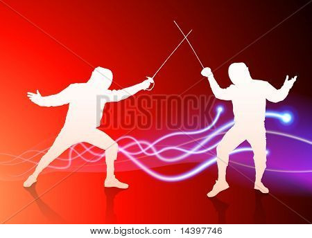 Fencer on Light Spark Abstract Background Original Illustration