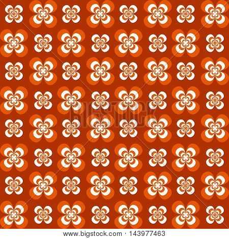 Flowers seamless pattern. White grey and orange colors. Seamless texture vector illustration. Dark background.