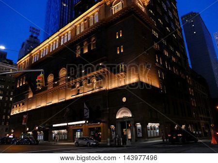 New York USA. 23rd August 2016. Carnegie Hall Manhattan New York City