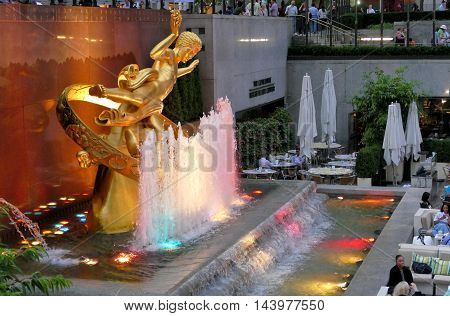 New York USA. 23rd August 2016. The golden Prometheus statue at the Rockefeller center