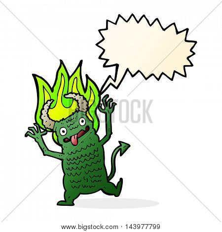 cartoon demon with speech bubble