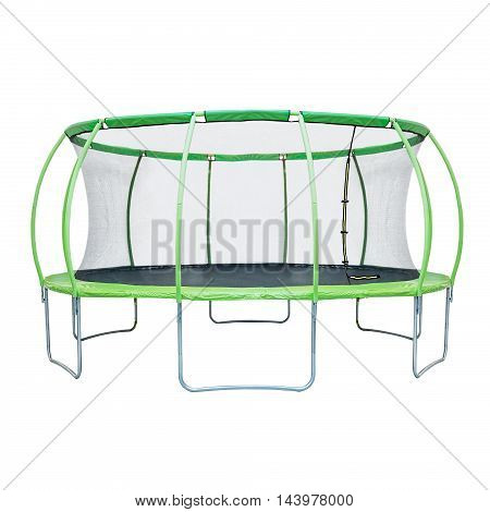 Trampoline with safety net isolated on a white