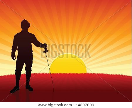 Fencer on Sunset Background Original Illustration