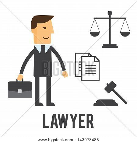 Lawyer concept icons in flat style eps10
