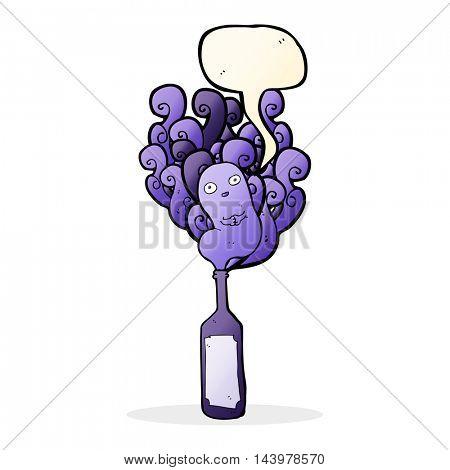 cartoon ghost in bottle with speech bubble