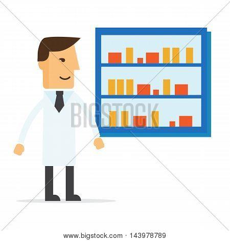Male pharmacist in a pharmacy opposite the shelves eps10