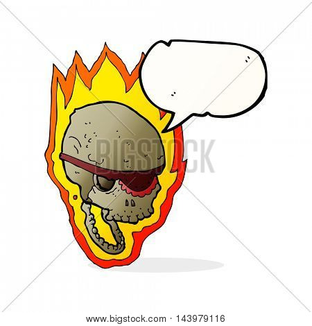 cartoon flaming pirate skull with speech bubble