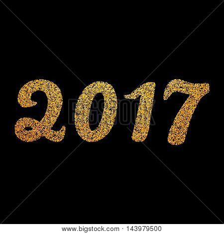 New Year 2017 numbers. Vector illustration. Golden glitter type.