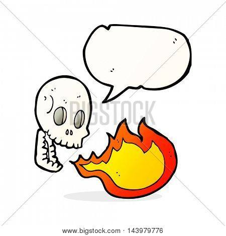 cartoon fire breathing skull with speech bubble