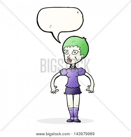 cartoon zombie monster woman with speech bubble