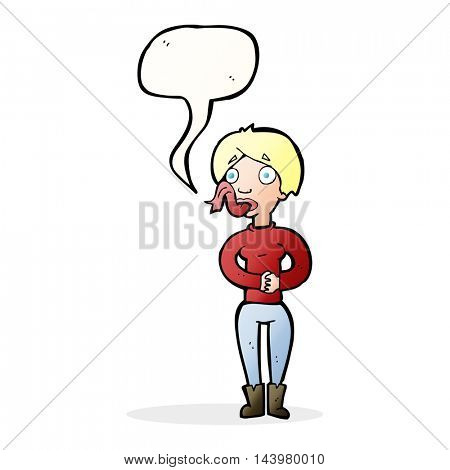 cartoon woman with snake tongue with speech bubble