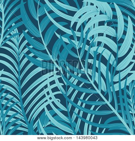 Exotic Tropical Leaves Summer Seamless Background. Vector illustration.