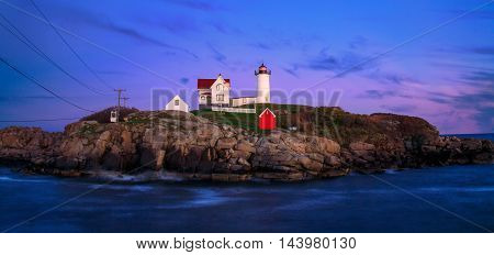 Yet another beautiful New England sunset at the Nubble Lighthouse Cape Neddick Maine USA