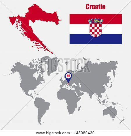 Croatia map on a world map with flag and map pointer. Vector illustration