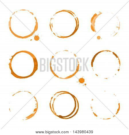 Collection of orange watercolor round stains and blots on white background